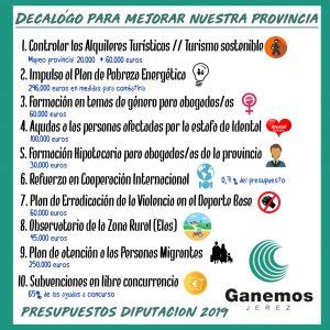 Ganemos Jerez presentará en el pleno de Diputación 10 medidas presupuestarias para dar respuesta a las necesidades de la provincia