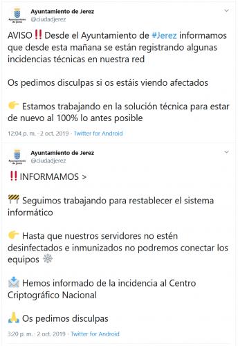 Tuits publicados por el Ayuntamiento
